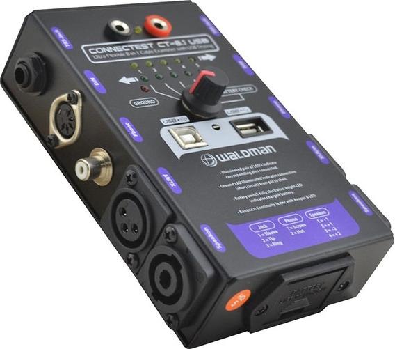 Testador De Cabo De Áudio Waldman Ct 8.1 Usb Rca Xlr P10