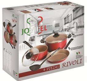 Set Batería De Cocina Antiadherente Jovifel Rivoli 4pzs Rojo