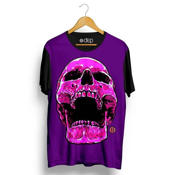 Camiseta Dep Caveira Sorrindo Roxa