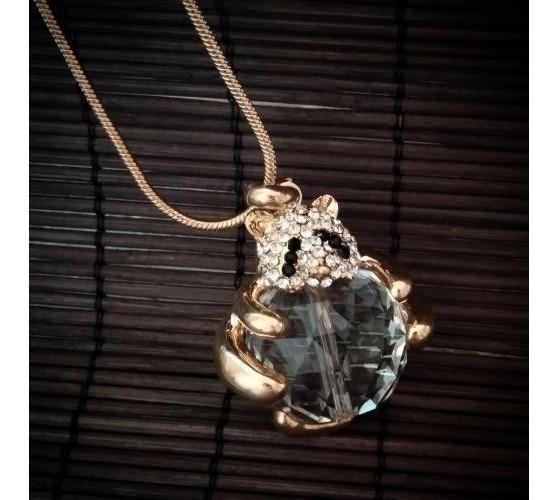 Collar Con Pandita Y Piedra Cristal Fantasia