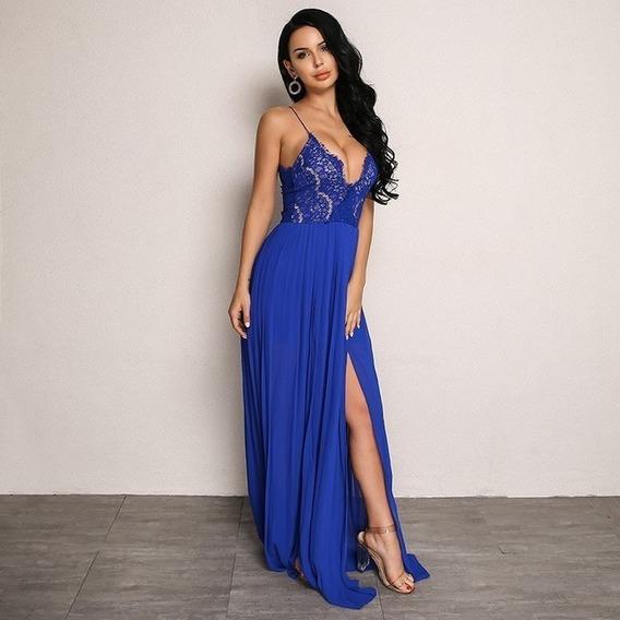 Vestido Noche Largo Color Azul Rey Ropa Bolsas Y Calzado