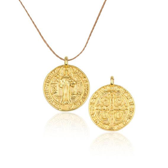 Medalha De São Bento Banhado A Ouro