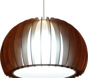 Lustre 40cm Luminária Pendente Em Madeira Cor Mogno Verniz