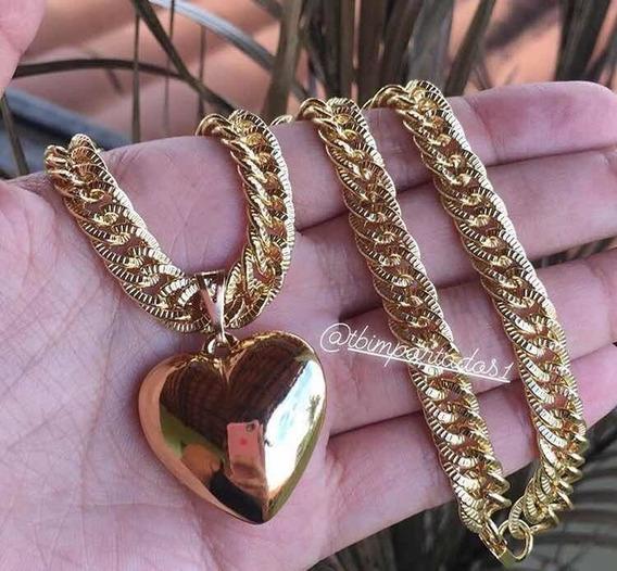 Colar Coração Mais Pulseira Grossa Banhado A Ouro 18k