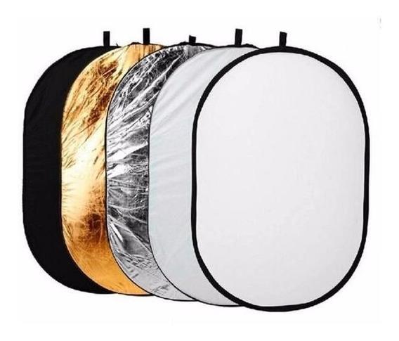 Rebatedor Oval Fotográfico 90x120cm Difusor 5 Em 1 Dobrável