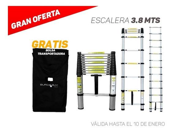 Escalera Telescópica Aluminio 3.8 M + Bolsa Regalo E/gratis