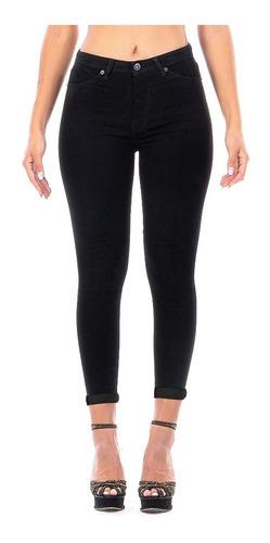 Imagen 1 de 7 de Pantalón Jeans Mezclilla Stretch Negro Dama Con Dobladillo