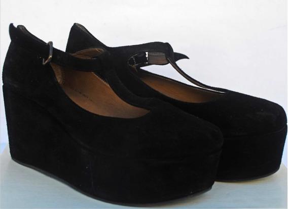 Zapatos De Gamuza Negros De Fiesta Con Plataforma