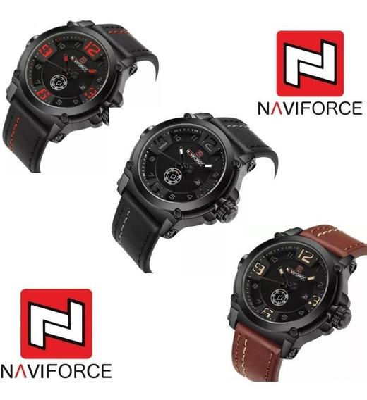 Relógio Masculino Naviforce Pulseira De Couro Esportivo
