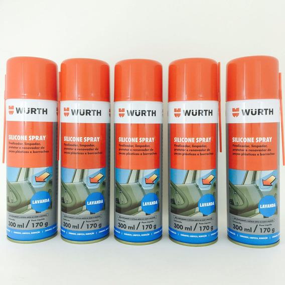 Kit Com 5 - Silicone Spray Wurth Lubrifica Esteira Moto Ind
