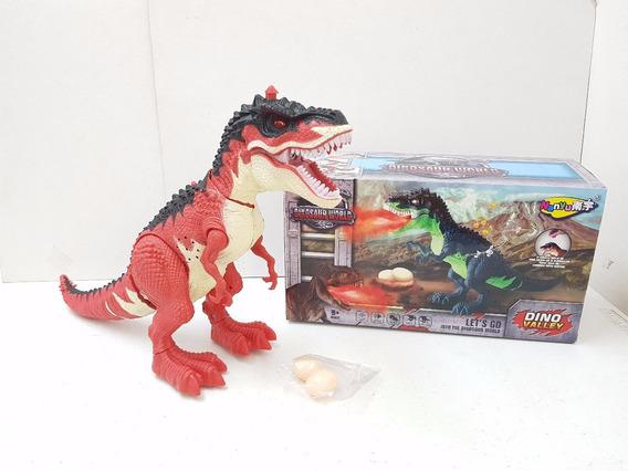 Dinosaurio Rex 28 Cm Camina Luz Y Sonido Echa Humo Y Huevos