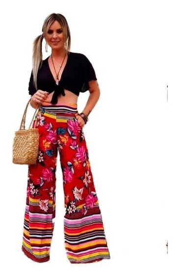 Calça Longa Pantalona Com Zíper Viscose Moda Feminina