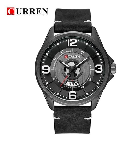 Relógio Masculino Original Pulseira Couro Aço Inox Curren