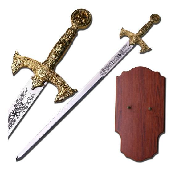 Espada Templaria Ceremonial Masonica Medieval Con Placa C-94