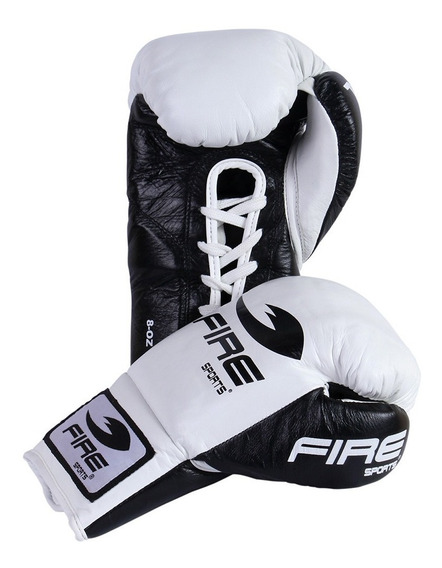 Guantes De Box Profesional Fire Sports 8oz 10oz 100% Piel Blanco