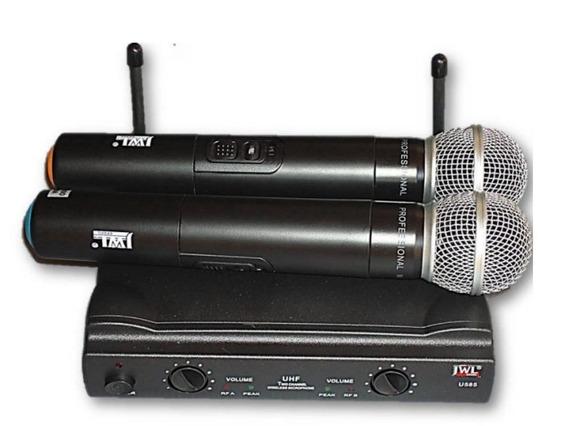 Microfone Sem Fio Jwl Duplo 100 Metros C/maleta