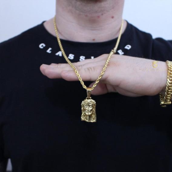 Corrente Banhada Ouro Luxuosa Trançado Baiano 4mm Top