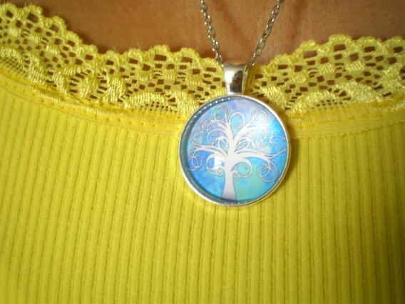 Colar Mandala Árvore Da Vida Branca Novo Frete Grátis