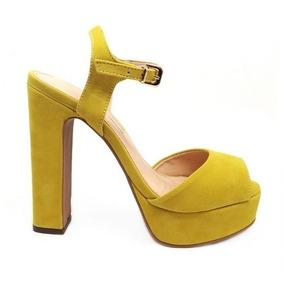 631c0e05f5 Sandalia Salto Grosso Meia Pata - Sandálias para Feminino Amarelo no ...