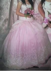 Vestido De Xv Años, Rosa Pastel Con Bordado Blanco (usado).