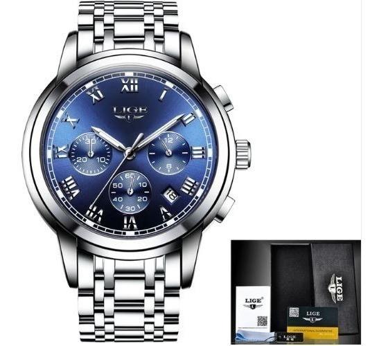 Reloj Casual De Cuarzo Para Hombre Lige9810 Azul P Original