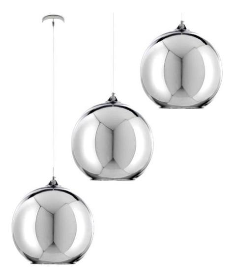 Jogo 3 Luminárias 15cm Pendente Teto Lustre Vidro Globo Prata Led Spot Refletor Sala Cozinha Dixon Gimpo Mh601-15s-3x