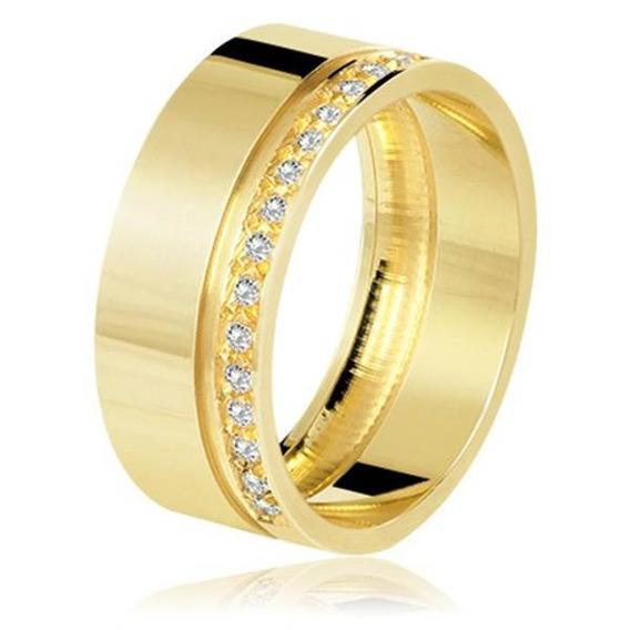 Aliança Friso Com Brilhantes Em Ouro 18k - Alb023