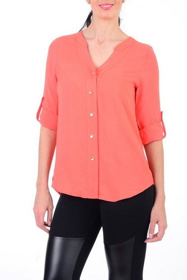 Blusa Con Botones Color Coral Azul Basics Collection