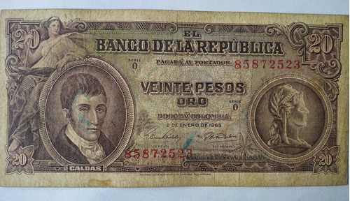 Billete De 20 Pesos Oro -enero 2 De 1965 Colombia  L  81