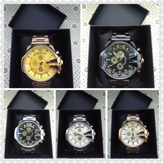 Relógios Masculino Mod. Italiano + Caixa - Kit Com 05 Und.