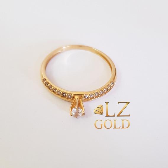 Anel Solitário Fileira Zircônia Ouro 18k 750 Feminino Calice