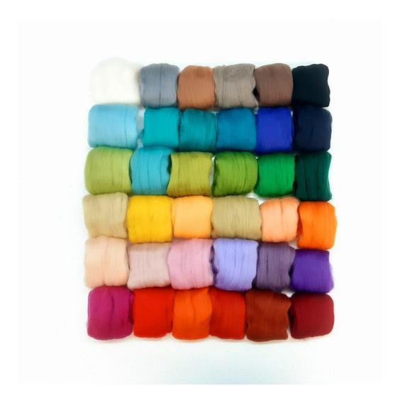 36 Madejas De Lana Merino Para Felting 4g Por Color