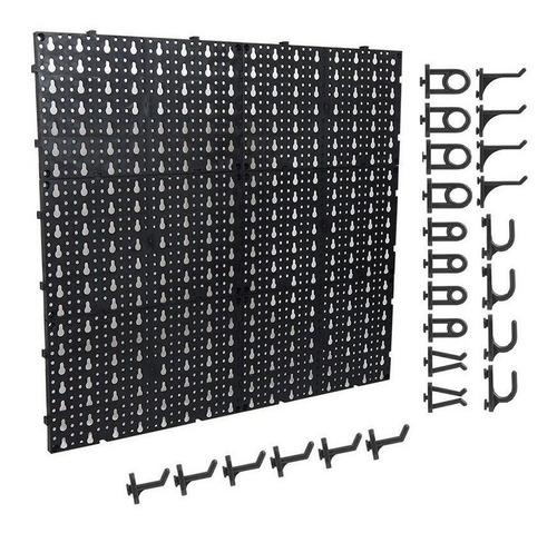 Imagem 1 de 5 de Pegboard Organizador Painel Modulado Perfurado Ferramentas Com 24 Ganchos