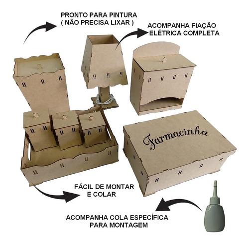 Kit Bebe Higiene Madeira Mdf Crú 8 Pçs Passa Fita Desmontado