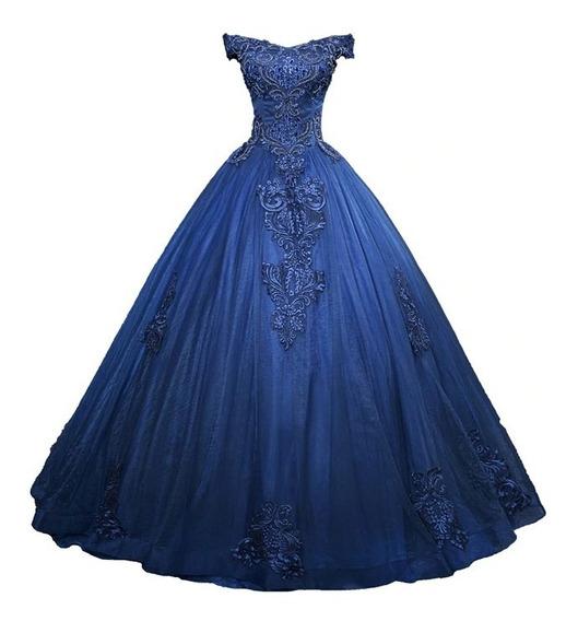 Vestido Quinceañera Fino Azul Marino Bordado Xv Años Aplique