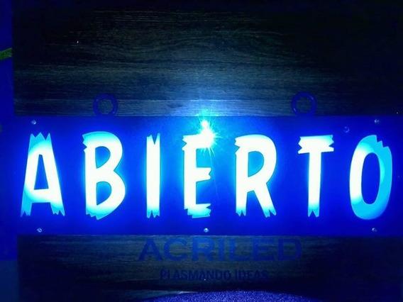 10 Pzs Letrero Led Abierto 50x15cm Brillante Envio Gratis