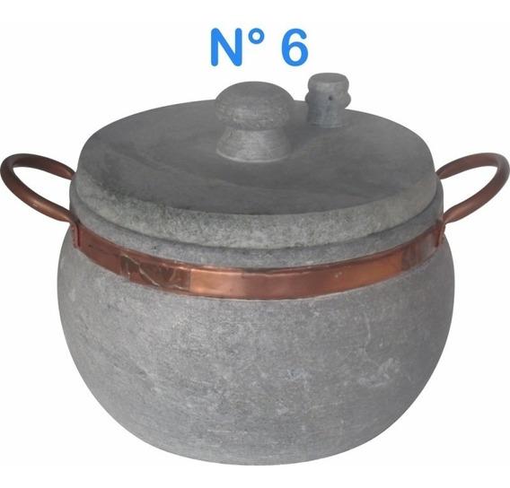 Panela De Pressão N°6 Em Pedra Sabão Com Alças De Cobre