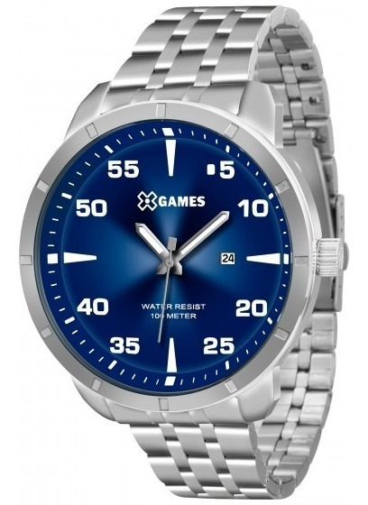 Relógio Xgames Xmss1033 D2sx Prata Redondo Azul - Refinado