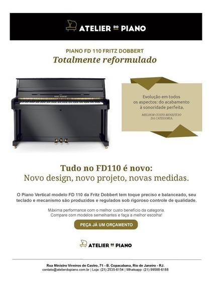 Piano Fritz Dobbert Modelo Novo Fd 110 Preto Auto Brilho