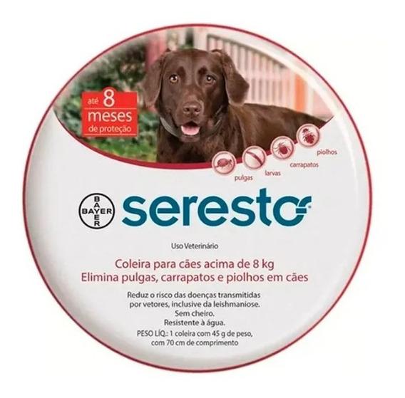 Coleira Seresto Para Cães Acima De 8kg Original + Brinde