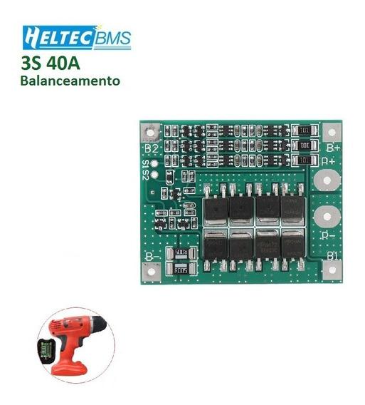 Placa De Proteção Bms 3s 40a Para Bateria Lipo Li-ion