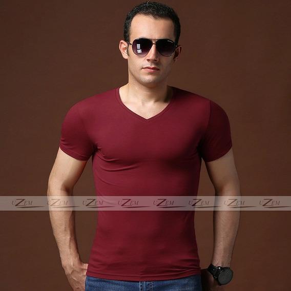 Camiseta Masculina Blusa Masculina Malha Elasticidade Gola V