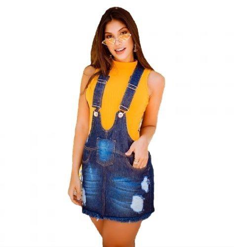 Jardineira Salopete Jeans Vestido S/lycra Moda Blogueira