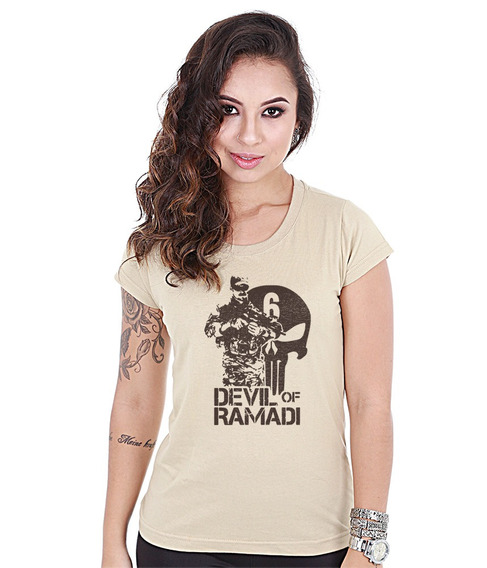Camiseta Militar Baby Look Feminina Devil Of Ramadi
