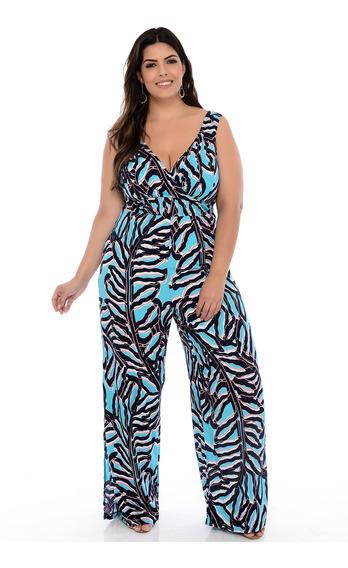 Macacão Plus Size Azul Estampado Carol