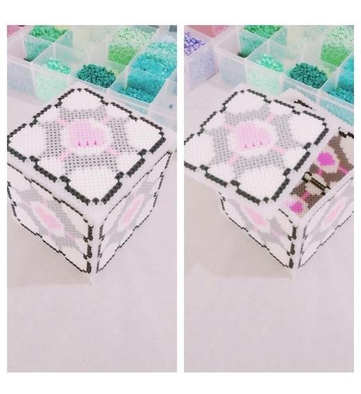 Porta Jóias Porta Treco Companion Cube Perler Beads 12,5cm