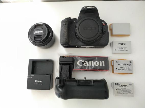 Canon T5i + Grip Batery + 50mm 1.8 + 4 Baterias/ 3.258clicks