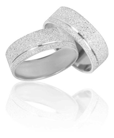 Par De Alianças De Prata 6 Mm Fosco Diamantada
