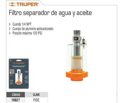 Separadores de agua para aire comprimido