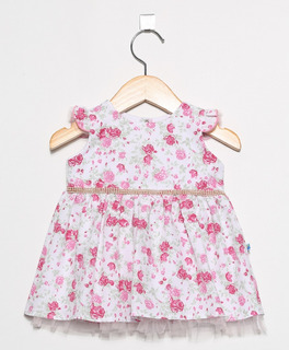 Vestido Infantil Pingo Doce Floral Rosa